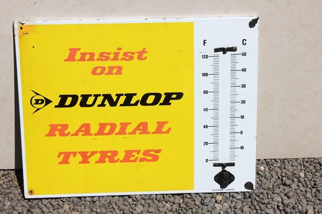 Dunlop Enamel Thermometer Sign