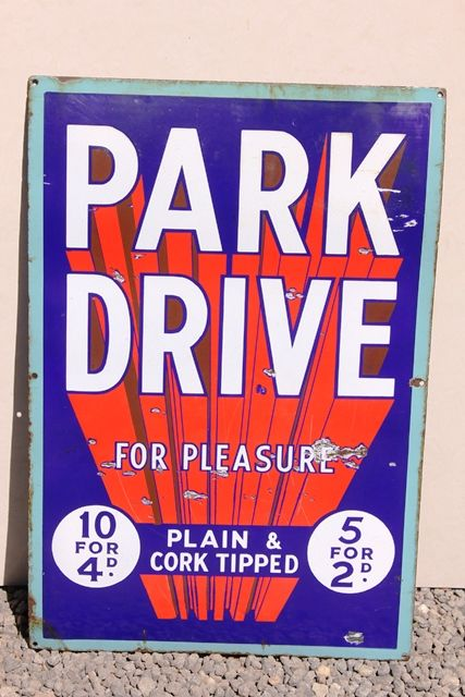 Park Drive Cigarettes Enamel Advertising Sign