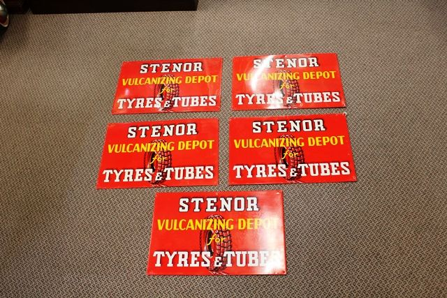Near Mint Stenor Tyres and tubes Tin Advertising Signs