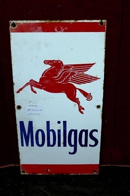 Mobilgas Pegasus Pictorial Enamel Advertising Sign