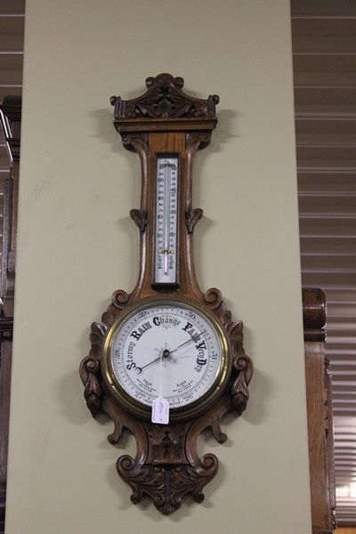 Edwardian Carved Oak Aneroid Barometer