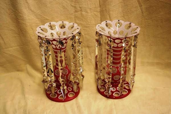 Antique Rare Pr Pink Overlay Glass Luster Vases Arriving Nov