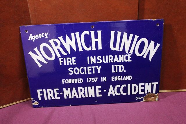 Norwich Union Insurance Agency Enamel Sign. # | XXXX ...