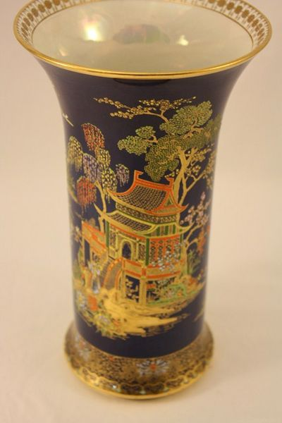 Blue Carlton Ware Vase Hand Painted
