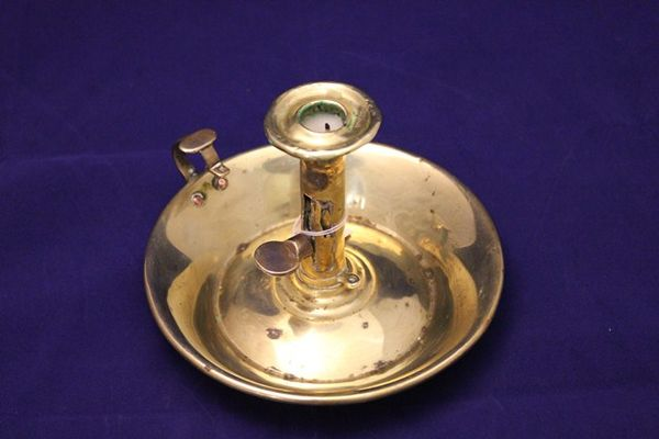 Early 19th Century Brass Chamber Candle Stick Holder