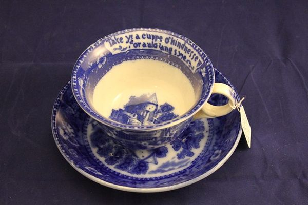 English Blue + White Large Cup + Saucer C1900