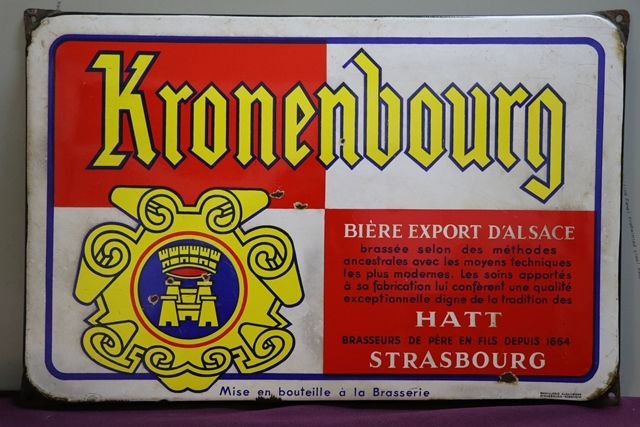Kronenbourg Beer Enamel Advertising Sign