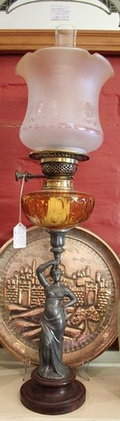 Late Victorian Speltor Oil Lamp C1900