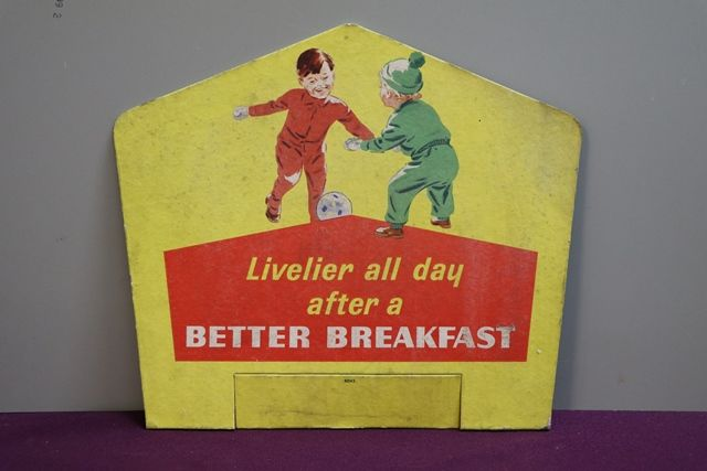 Livelier all day Better Breakfast Cardboard Advertising Sign
