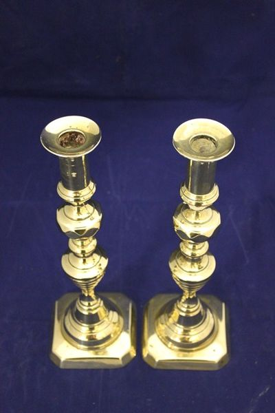 Pair 19th Century Brass candle Stick Holders