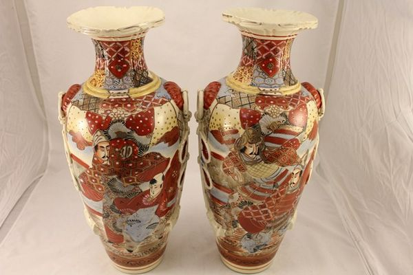Pair Of Early 20th Century Satsuma Vases