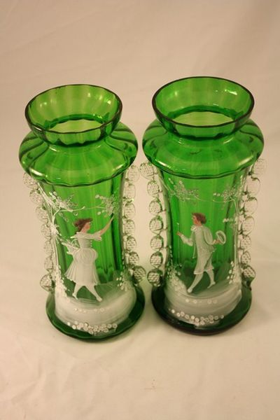 Pair Of Victorian Green Glass Mary Gregory Vases Xxxx