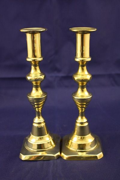 Pair of Early 19th century brass candlestick holders