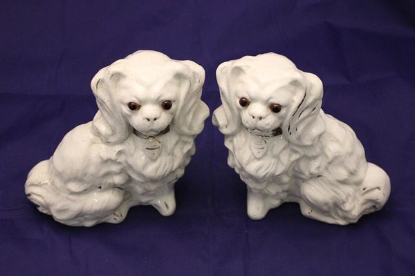 Pair of Glass Eyed Staffordshire Dogs