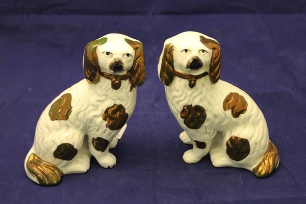 Pair of Late 19th Century Open Leg Staffordshire Dogs