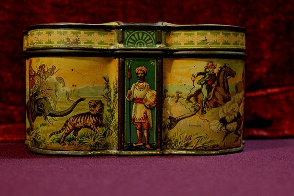 Rare Victorian Huntley And Palmers Biscuit Tin