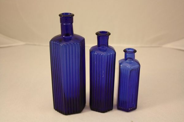 Set of 3 Bristol Blue Medicine bottles