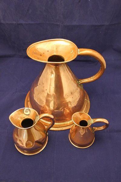 Set of 3 Victorian Copper Jugs