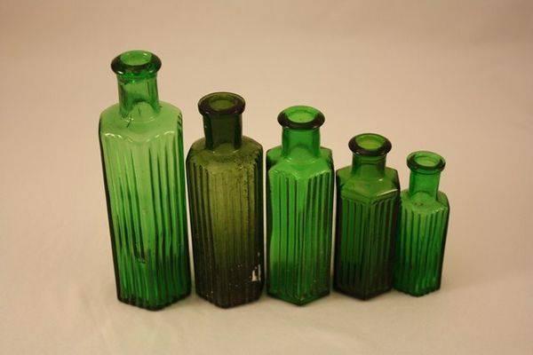 Set of 5 Graduated Green Medicine Bottles