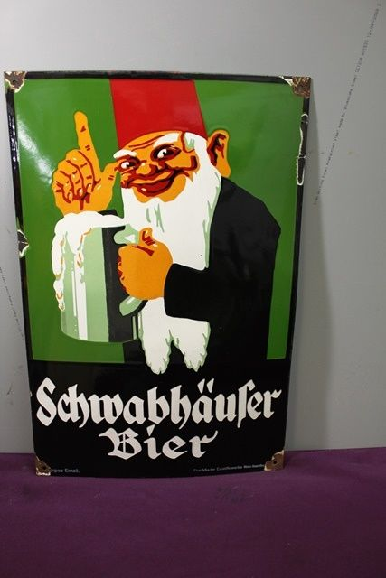 Wonderful German Schwabhaufer Beer Pictorial Enamel sign