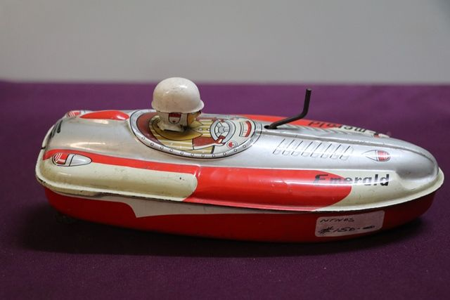 Y3 Wind Up Emerald Boat Crank Yonezawa Japan Tin Toy