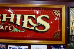 Archies Cafe Large Framed Glass Advertising Sign