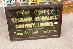 Tasmania Insurance Agency Advertising Glass Sign..#
