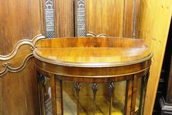 Small Walnut Half Round Display Cabinet