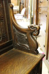 Antique Baronial Carved Oak Bench