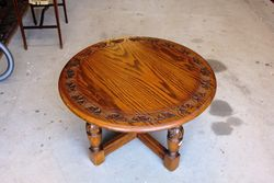 C20th Round Oak Coffee Table.#