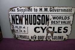Antique New Hudson Cycles Enamel Sign.#