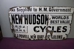 Antique New Hudson Cycles Enamel Sign.#