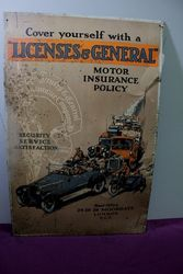 Antique Licenses + General Pictorial Tin Sign .#