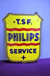 Philips  T S F Service Double Sided Enamel Sign. #