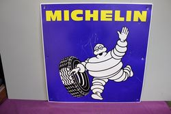 Genuine 1980s Michelin Bibendum Figure. Tin Sign. #