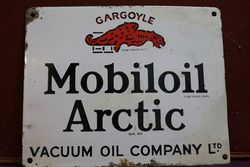 Mobiloil Gargoyle Arctic Enamel Advertising Sign #
