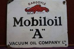 Mobiloil Gargoyle A Enamel Advertising Sign #