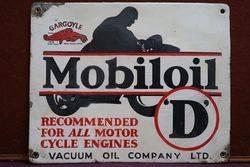 Mobiloil Gargoyle D Enamel Advertising Sign #