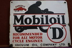 Mobiloil Gargoyle D Enamel Advertising Sign #