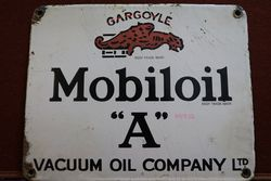 Mobiloil Gargoyle A Enamel Advertising Sign #
