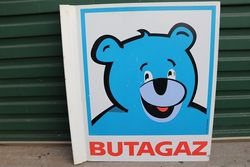 Butagaz Double Side Column mounted Enamel Advertising Sign