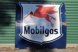 Large Mobilgas Pegasus Enamel Advertising Sign #