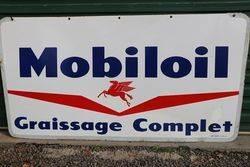 Mobiloil Graissage Complet Double Sided Enamel Sign #