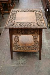 Quality Early C20th Well Carved Sewing Table  #