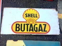 ARRIVING NOVEMBERShell Butagaz Enamel Advertising Sign