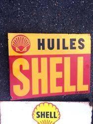 ARRIVING NOVEMBERShell Huiles Enamel Advertising Sign