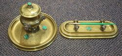 Antique Brass & Malachite Ink Well and Pen Stand #