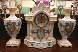 Edwardian 3pc China Clock Set
