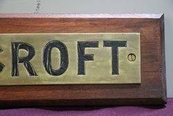 Genuine House Name Plate andquotROYCROFTandquot
