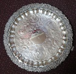 Antique Silver Plated Round Tray #